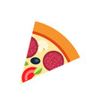slice pizza with salami and vegetables vector image vector image