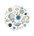 space concept in a circle white background vector image vector image