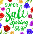 Spring sale Background with tulips and daisies EPS vector image