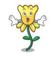 surprised daffodil flower mascot cartoon vector image vector image