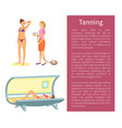 tanning spa procedure for woman poster vector image vector image