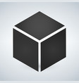 three dimensional or 3d cube hexahedron flat icon vector image
