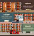 warehouse robots flat banners vector image vector image
