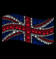waving united kingdom flag collage of wind mill vector image