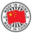 Stamp with flag of China Lettering Made in China vector image