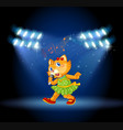 a cat singing on stage vector image