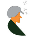 an old woman in green dress is sleeping color vector image