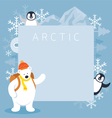 Arctic Polar Bear Backpacker and Penguins Frame vector image vector image