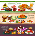 austrian meat dishes beer drink and desserts vector image vector image