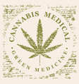 banner for medical marijuana with cannabis leaf vector image vector image