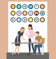 bitcoin currency and people with papers vector image vector image