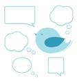 blue bird and set speech bubbles vector image vector image