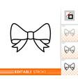 bow ribbon gift decor single thin line icon vector image