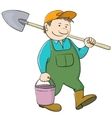 bucket and shovel vector image vector image