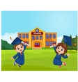 Cartoon Graduation Celebration with school vector image vector image