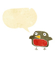 cartoon robin with speech bubble vector image vector image