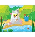 Cat fishing on the river vector image vector image