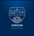 christianity education book cross logo blue vector image vector image