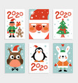 christmas characters card set santa penguin and vector image