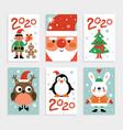 christmas characters card set santa penguin vector image
