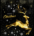 christmas greeting card with gold glitter reindeer vector image vector image