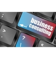 Computer keyboard with business consulting key vector image
