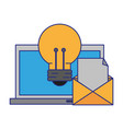 computer with light bulb and envelope vector image vector image