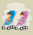 couple of babies in cart characters vector image