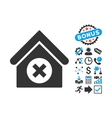 Delete Building Flat Icon with Bonus vector image vector image