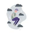 depression metaphor sad man grey clouds vector image vector image