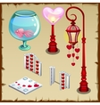 Fence lantern and other items in heart shape vector image vector image