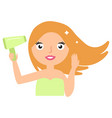hair care beautiful smiling woman drying healthy vector image vector image