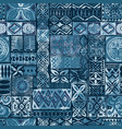 hawaiian style blue tapa tribal fabric vector image vector image