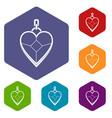heart shaped pendant icons set hexagon