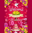 invitation on wedding ceremony welcome save date vector image