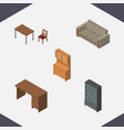 isometric design set of chair couch cupboard and vector image vector image