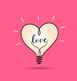 light bulb heart love design on pink vector image vector image