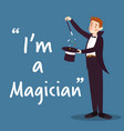 magician character with hat and wand on blue vector image vector image