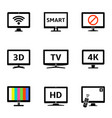 modern tv icons set vector image vector image