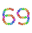 number 69 sixty nine of colorful hearts on white vector image vector image