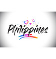 philippines welcome to word text with love hearts vector image