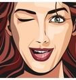 portrait girl red haired wink lipstick vector image