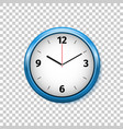 realistic classic blue and white round wall clock vector image vector image