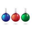 red blue and green christmas balls isolated vector image