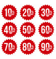 red discount stickers set with sale percents vector image