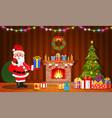 santa claus in christmas room interior vector image vector image