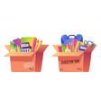 school stationery in cardboard donation box vector image