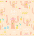 seamless cactus pattern background vector image vector image