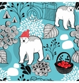Seamless pattern with red berries and white bears vector image vector image