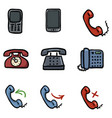 set color doodle phone icons vector image vector image